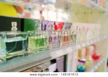 Perfumes on shelves in supermarket