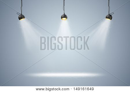3d blank background setup with lighting lamps