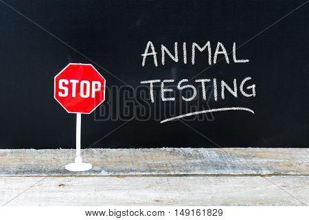 Stop Animal Testing Message Written On Chalkboard
