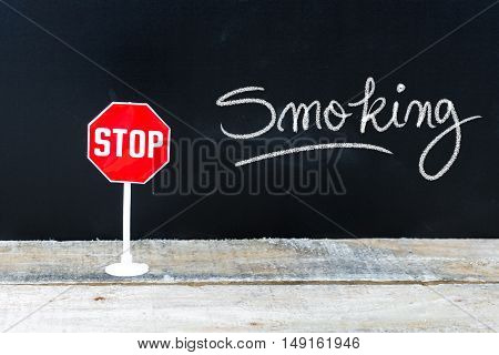 Stop Smoking Message Written On Chalkboard