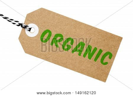 Organic label made from cardboard with string on an isolated white background with a clipping path