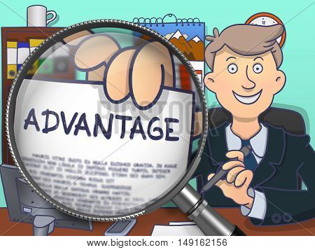 Advantage. Stylish Businessman Sitting in Offiice and Holding a Concept on Paper through Magnifier. Multicolor Doodle Style Illustration.