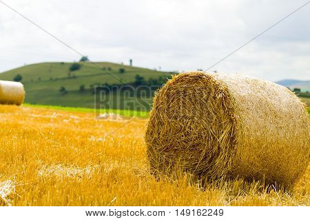 Circle of bale stack after wheat harvest.