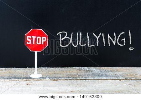 Stop Bullying Message Written On Chalkboard