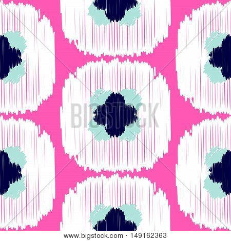 Ikat ogee squares vector seamless pattern. Abstract geometric background for fabric, print or wrapping paper. White and pink design.