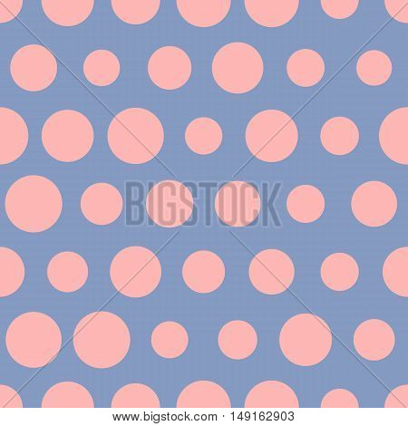 Pink dots on blue bacgkround, vector seamless dotted pattern. Polka dots semless pattern. Pattern for textile prind for dress, vintage fabric