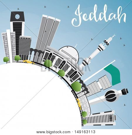 Jeddah Skyline with Gray Buildings, Blue Sky and Copy Space. Vector Illustration. Business Travel and Tourism Concept with Modern Buildings. Image for Presentation Banner Placard and Web Site.