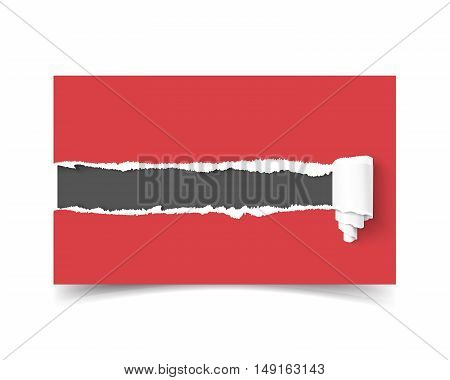 Realistic vector template business card with hole in paper torn edges and paper roll and dark copyspace for text isolated on white background. Red torn vector paper. Business card mock up