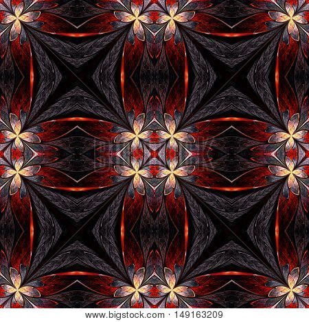 Symmetrical flower pattern in stained-glass window style on light. Beige orange and brown palette. Computer generated graphics.