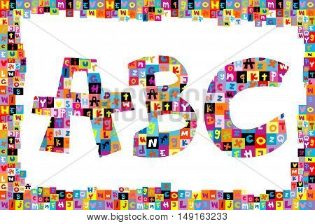 Colorful alphabet letters ABC on white background