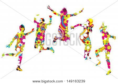 Floral patterned young people silhouettes jumping on white background