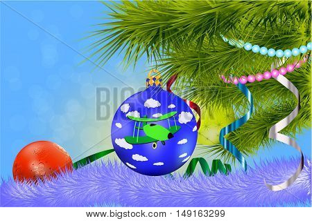 Postcard for the new year 2017 with Christmas tree and balls