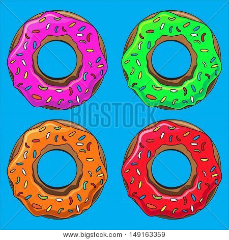 Donut with sprinkles vector illustration set. Into the glaze collection