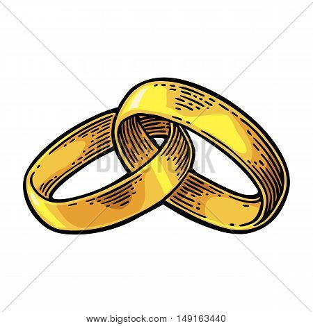 Golden wedding rings. Hand drawn in a graphic style. Vintage black vector engraving illustration for info graphic poster web. Isolated on white background