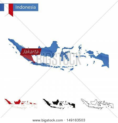 Indonesia Blue Low Poly Map With Capital Jakarta.