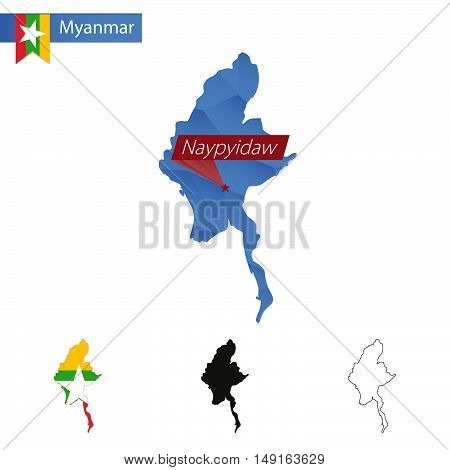 Myanmar Blue Low Poly Map With Capital Naypyidaw.
