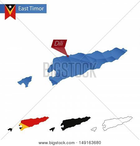 East Timor Blue Low Poly Map With Capital Dili.