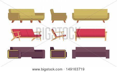 Set of sofas isolated against white background. Cartoon vector flat-style illustration
