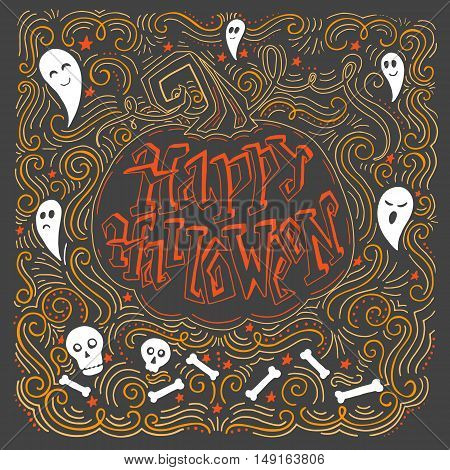 Vector hand drawn vintage poster with hand-lettering. Happy Halloween greeting card with pumpkin and ghosts. Vector art. Perfect design element for poster or banner.
