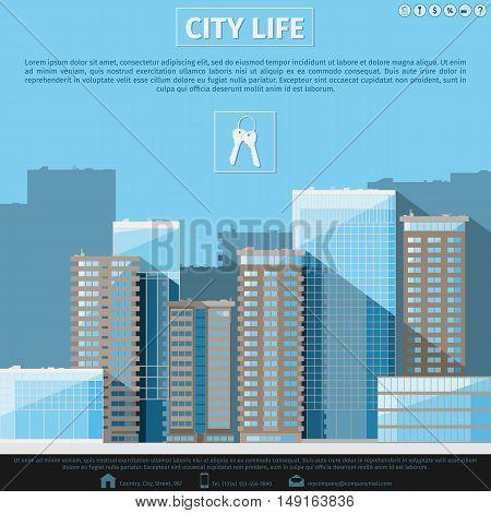 City landscape. Real estate banner. Flat urban background. Vector illustration 10 EPS without transparency