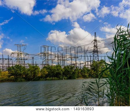 tower electrical substation on the other side of the river