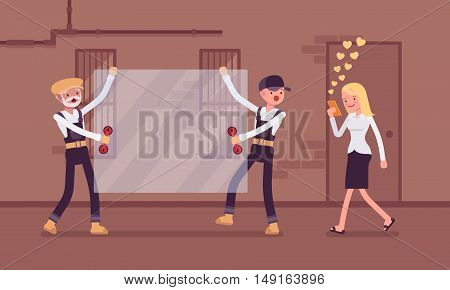 Woman walks with smartphone to crash into a sheet of glass. Cartoon vector flat-style concept illustration