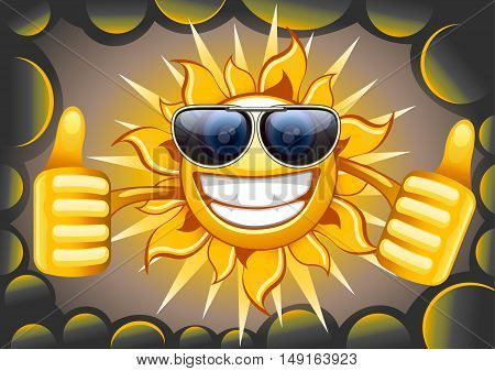 Happy sun with glasses with clouds smiling