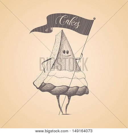 Cakes shop pastry vector logo sign icon symbol emblem. Cute isolated graphic design element illustration with slice of cake character for menu poster advertising