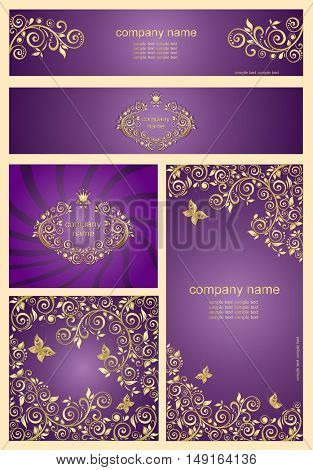 Set of ornate violet templates and banners with floral golden pattern
