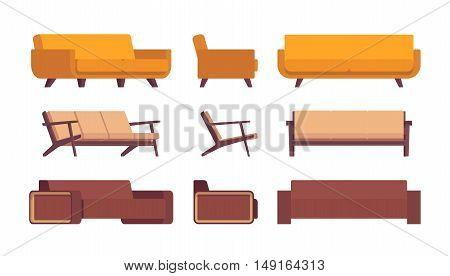 Set of retro sofas isolated against white background. Cartoon vector flat-style illustration