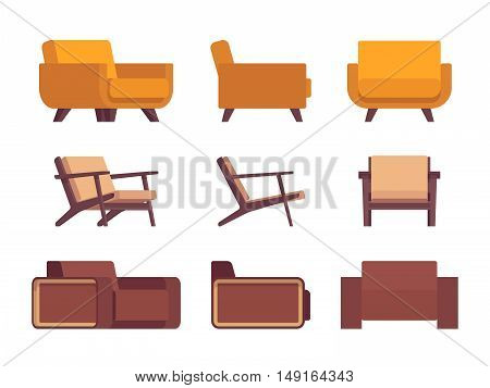 Set of retro armchairs solated against white background. Cartoon vector flat-style illustration