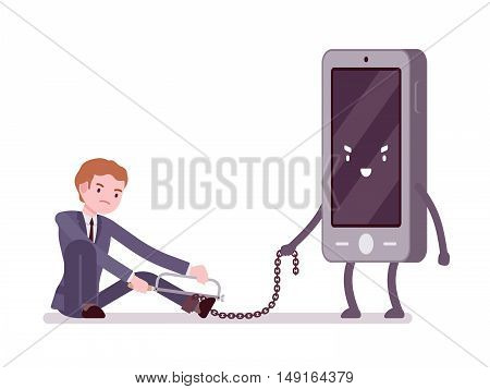 Man is slaved by his smartphone and trying to break the chain with a hacksaw. Cartoon vector flat-style concept illustration