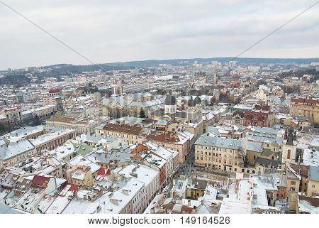 Winter View On The Downtown In Lviv, Ukraine.
