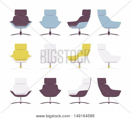 Set of rerto armchairs isolated against white background. Cartoon vector flat-style illustration