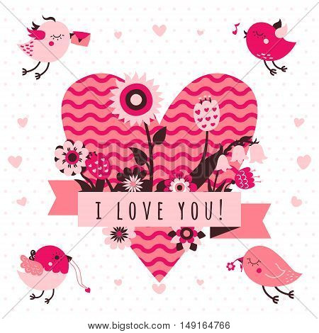 I love you vector card (background) in light and dark pink and brown colors with birds flowers ribbon and heart