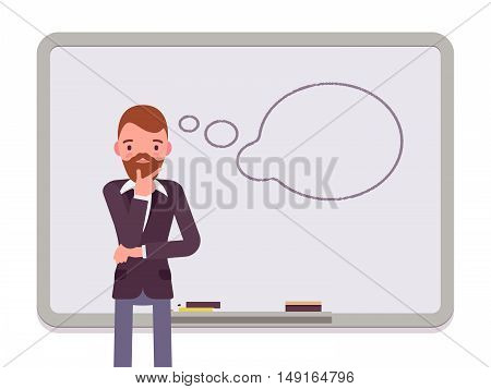 Man against the blackboard with drawn dialogue cloud. Cartoon vector flat-style concept illustration