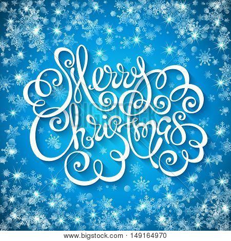 Merry christmas handwritten lettering on background with snowflakes and sparks. Vector illustration