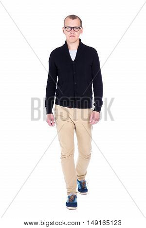 Full Length Portrait Of Young Handsome Man Student Or Office Worker Walking Isolated On White