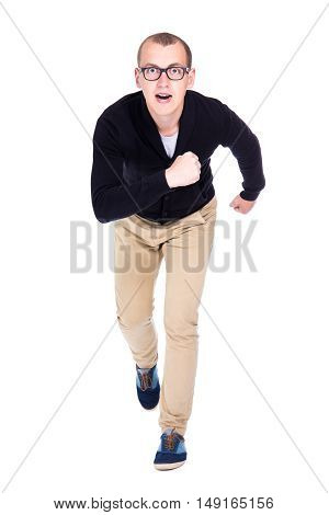 Front View Of Cheerful Young Man Student Or Office Worker Running Isolated On White