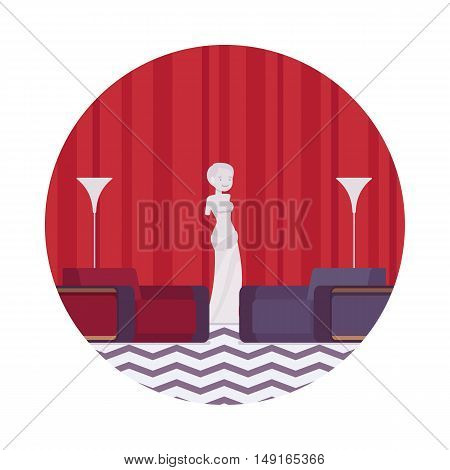 Mysterious interior with sculpture in a circle. Cartoon vector flat-style illustration