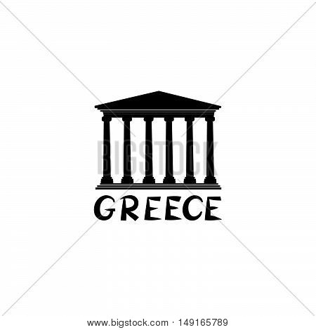 Greece sign. Greek famous landmark temple. Travel Greece label. Greek architectural icon with lettering