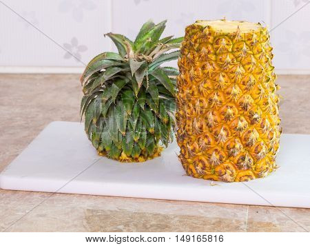 Pineapple On Plastic White Block Or Board