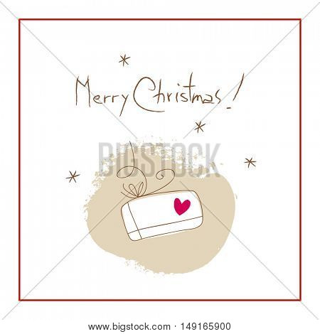 Christmas present, Merry Christmas greeting card. Sketchy doodle style hand drawn seasonal vector illustration.