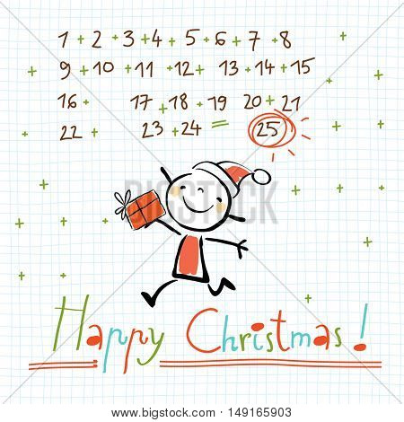 Christmas calendar, Merry Christmas greeting card. Sketchy doodle style hand drawn seasonal vector illustration.
