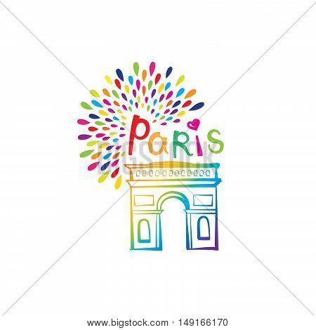 Paris sign. French famous landmark Arc de Triomphe. Travel France label. Paris architectural icon with lettering