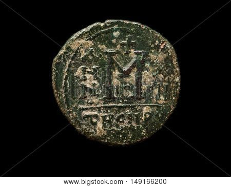 Ancient Byzantine Copper Coin With Big Letter M