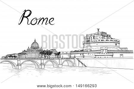 Rome cityscape with St. Peter's Cathedral. Italian city famous landmark Castel Sant Angelo skyline. Travel Italy engraving. Rome architectural city background with lettering