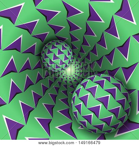 Optical illusion illustration. Two balls with arrows pattern are moving on rotating purple arrows green funnel. Abstract fantasy in a surreal style.