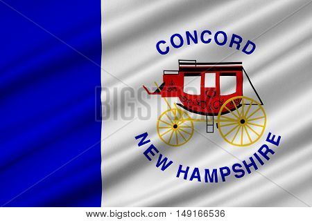 Flag of Concord is the capital city of New Hampshire United States. 3D illustration