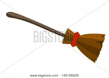 Old witch broom with red rope for Halloween art and design. Vector icon template